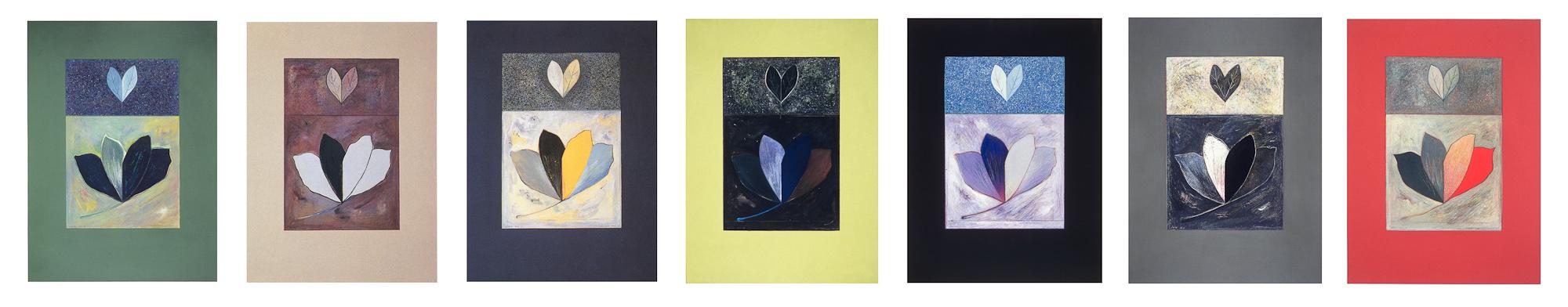 Joie, no 1 à 7, 1993 - 1995. Gouache et crayon sur carton, 69 x 350 cm. Collection Loto-Québec, Montreal, Qc.