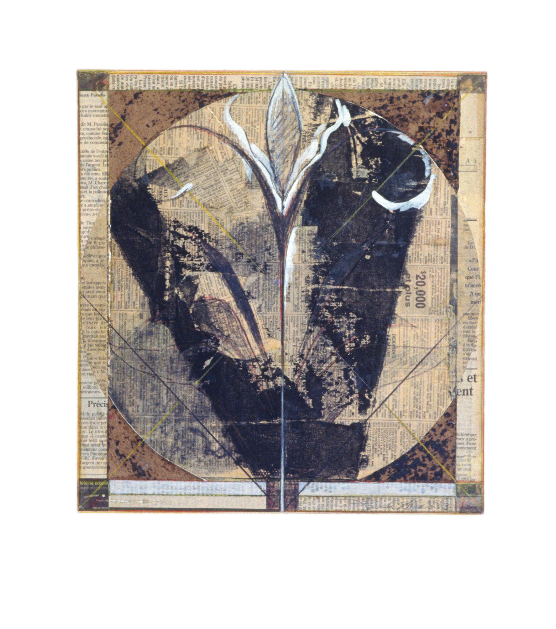 Iris No 5, 1993. Sérigraphie, gouache et crayon sur papier imprimé collé sur papier fort, 46 x 41 cm.