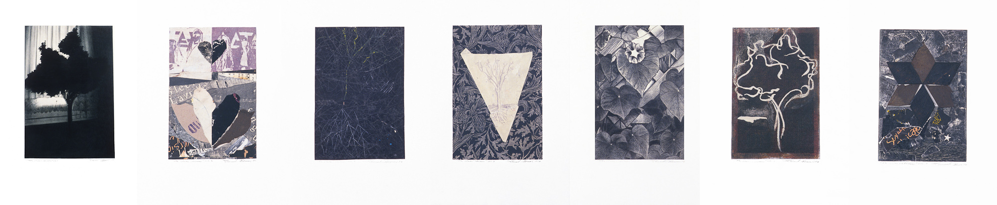 Les clairs-obscurs (série A), 1994. Techniques mixtes sur papier fort, 42,5 x 210 cm.