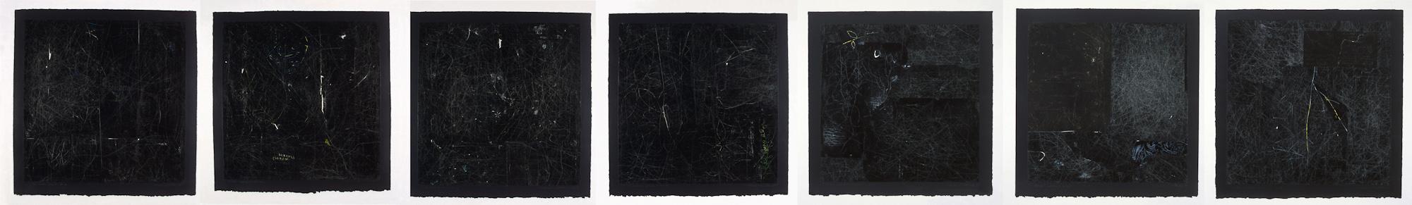 Les carrés noirs, no 1 à 7, 1998 - 1999. Gouache et crayon sur papier carbone, 46 x 322 cm.