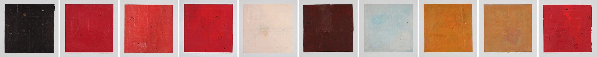 Dermographies, no 1 à 10, 2004. Acrylique sur papier fort, 43 x 430 cm.