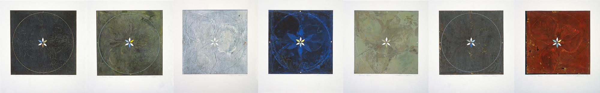 Trille blanc, no 1 à 7, 2003 - 2005. Gouache et crayon sur papier fort, 44,5 x 280 cm.