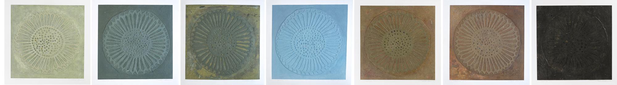 Coquillage, no 1 à 7, 2009 - 2013. Acrylique sur papier fort, 57 x 399 cm.