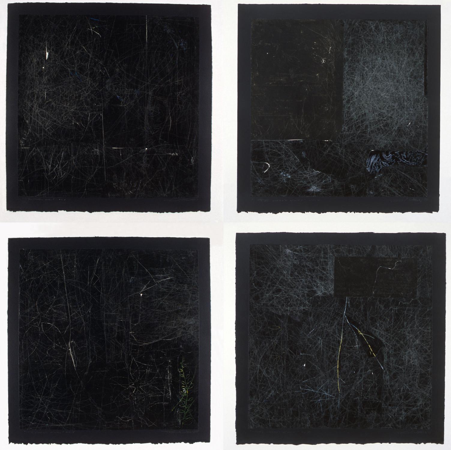 Les carrés noirs no 1, 6, 4, 7, 1998-1999. Gouache et crayon sur papier carbone, 92 x 92 cm. Collection du Musée national des beaux-arts du Québec.